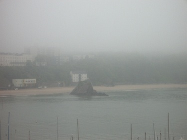 Tenby rock in the fog